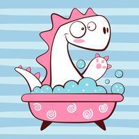 Dino mignon laver dans la salle de bain