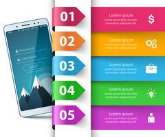 Smartphone, gadget numérique - infographie de l'entreprise. vecteur