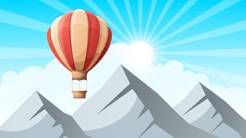 paysage de montagne. Ballon d'air. vecteur