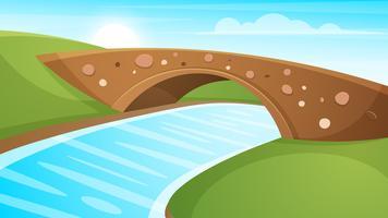 Illustration de paysage de dessin animé. Soleil. nuage, montagne, colline vecteur