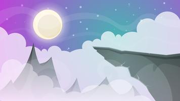 Paysage de nuit de dessin animé. Comète, lune, montagnes, illustration de sapin. vecteur