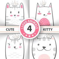 Définissez des personnages mignons et jolis pour les chats et les chatons.