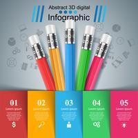 Crayon, icône de l'éducation. Infographie de l'entreprise.
