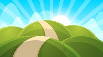 Illustration de paysage de dessin animé. Soleil. nuage, colline. vecteur