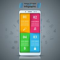 Gadget numérique, infographie de smartphone. vecteur
