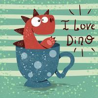 Dino mignon avec une tasse de thé