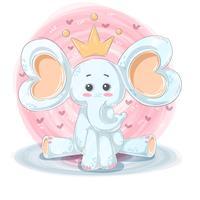 Illustration mignonne et drôle - personnages de dessin animé d'éléphant. vecteur