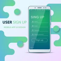 Design de l'interface utilisateur. Icône de smartphone. Identifiant, mot de passe, inscription, inscription.