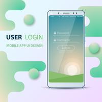 Design de l'interface utilisateur. Icône de smartphone. Identifiant et mot de passe.