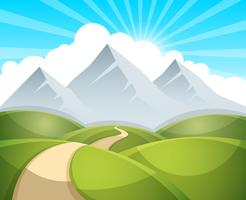 Illustration de paysage de dessin animé. Soleil. nuage, montagne vecteur