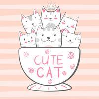 Chat, personnages de chat. Illustration de café et de thé.