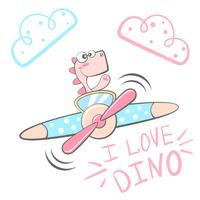 Personnages de dessin animé Dino. Illustration de l'avion