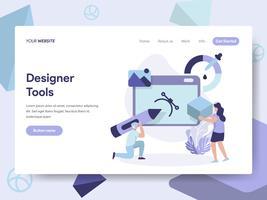 Modèle de page d'atterrissage de 3D Designer Tools Illustration Concept. Concept de design plat isométrique de la conception de pages Web pour site Web et site Web mobile. Illustration vectorielle
