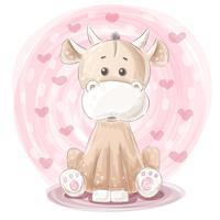 Illustration de vache mignonne - personnages de dessins animés. vecteur