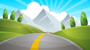 Illustration de paysage de dessin animé. Soleil. nuage, colline de montagne vecteur