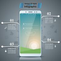 Gadget numérique, icône de la tablette smartphone. Infographie de l'entreprise. vecteur