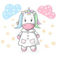 Illustration de licorne mignonne, drôle, cool et fine.