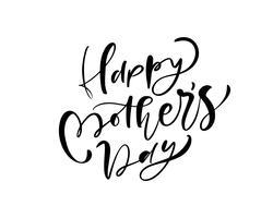Heureuse fête des mères lettrage texte calligraphie vectorielle noir.