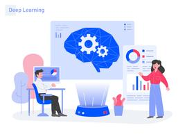 Deep Learning Illustration Concept. Concept de design plat moderne de conception de page Web pour site Web et site Web mobile. Illustration vectorielle