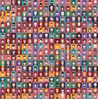 Ensemble d'icônes personnes aux visages