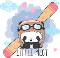 Joli bébé Panda dans un avion vecteur
