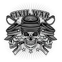 emblème de la guerre civile avec crâne