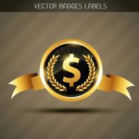 signe dollar sur étiquette dorée vecteur