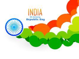 conception créative de drapeau indien faite avec des cercles dans le style de la vague