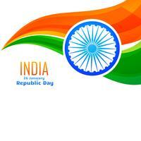 conception de drapeau indien vectoriel dans le style de la vague