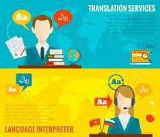 Bannières de traduction et de dictionnaire mises à plat