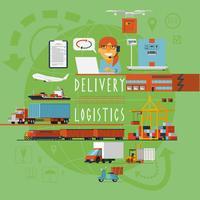 Affiche de concept logistique de transport dans le monde entier