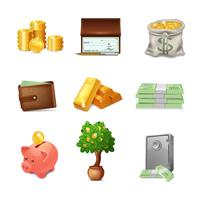 Jeu d'icônes financières vecteur