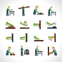 Jeu d'icônes de charpentier vecteur