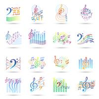 Jeu d'icônes de notes de musique vecteur