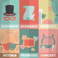 Ensemble de mini affiches de théâtre vecteur