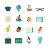 icônes plates de l'éducation vecteur