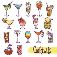 ensemble de croquis de cocktail vecteur