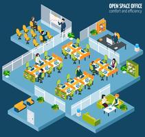 espace bureau ouvert vecteur