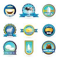 Etiquettes de produits laitiers Eco Farm vecteur