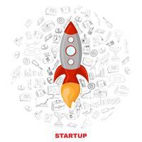 Affiche du concept de lancement d'une entreprise vecteur