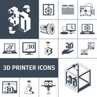 Imprimante Icônes 3d vecteur