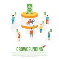 Concept d'entreprise de crowdfunding vecteur