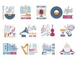 Emblèmes de la musique rétro