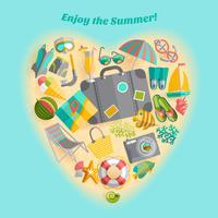 Affiche d'icônes de composition de vacances été coeur