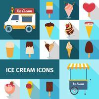 Jeu d'icônes carrées de crème glacée vecteur