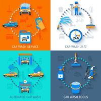Service de lavage de voiture 4 icônes à plat