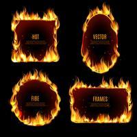 Cadre de flammes de feu chaud sur le fond noir