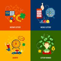 Loterie 4 icônes plates vecteur
