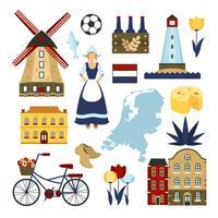 Jeu de symboles Pays-Bas vecteur