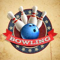Fond d'emblème de bowling vecteur